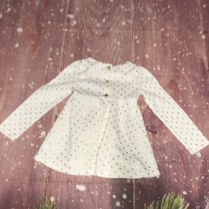 Savannah Dresses - White Long Sleeve Bow Tie Dress Gold Polka Dots